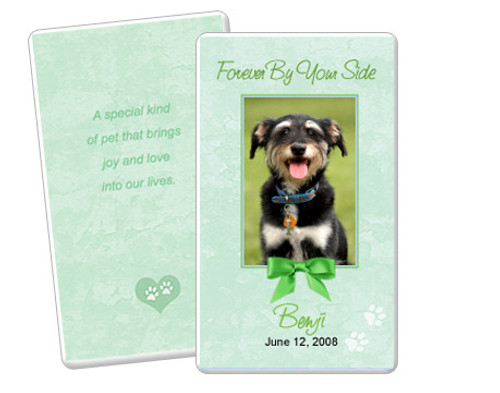 Green Folded DIY Pet Memorial Card Templates