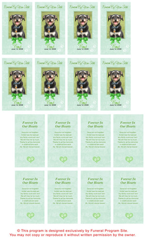 Green Folded DIY Pet Memorial Card Templates inside view
