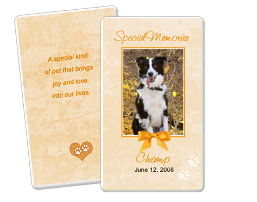 Peach DIY No Fold Pet Memorial Card Template