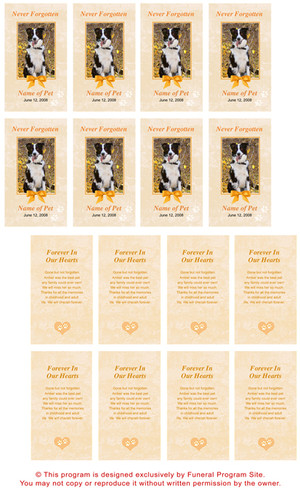 Peach DIY No Fold Pet Memorial Card Template inside view