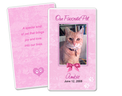 Pink DIY No Fold Pet Memorial Card Template