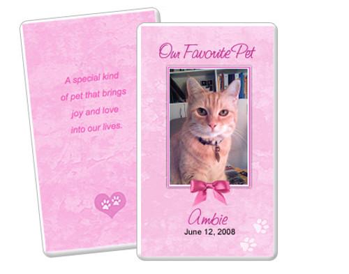 Pink DIY No Fold Pet Memorial Card Template