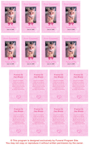 Pink DIY No Fold Pet Memorial Card Template inside view