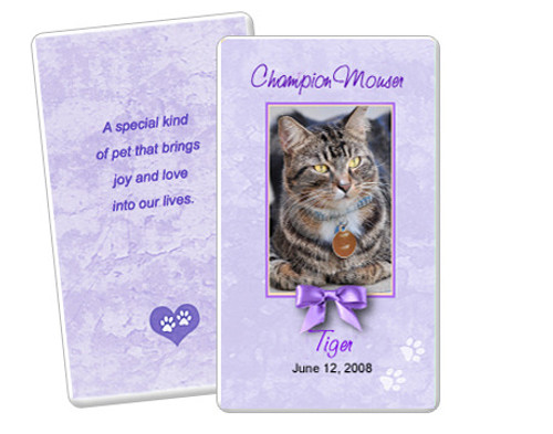 Purple DIY No Fold Pet Memorial Card Templates