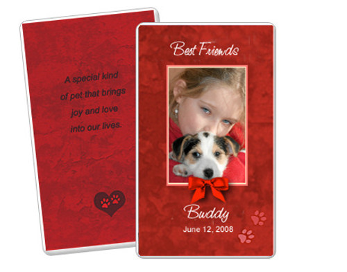 Red DIY No Fold Pet Memorial Card Templates