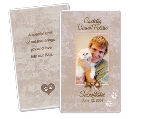 Tan DIY No Fold Pet Memorial Card Templates