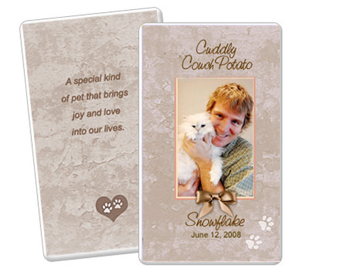 Tan DIY No Fold Pet Memorial Card Templates
