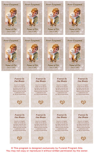 Tan DIY No Fold Pet Memorial Card Templates inside view