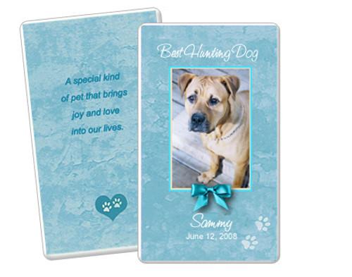 Teal DIY No Fold Pet Memorial Card Template