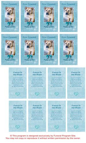 Teal DIY No Fold Pet Memorial Card Template inside view