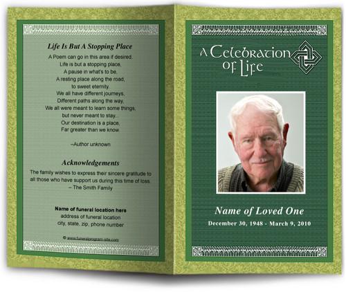 celtic funeral program template