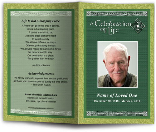 celtic funeral program template