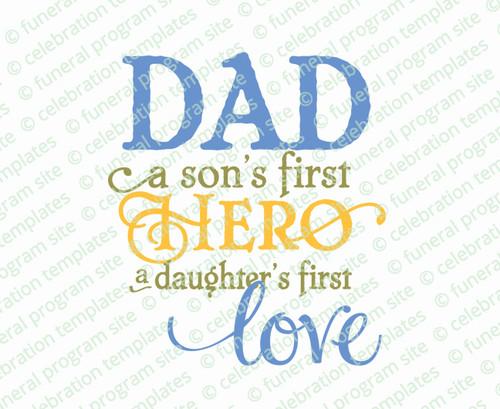 Dad Hero Word Art Title