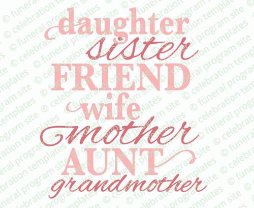 Mother Memorial Word Art Title