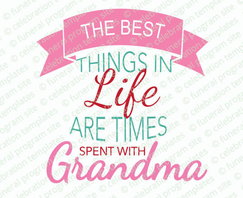 Grandma The Best Things Ever Word Art Design
