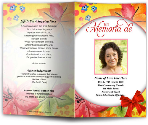 flora funeral program template