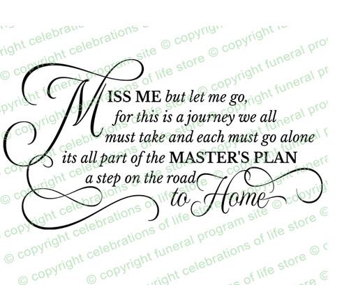 Miss Me But Let Me Go Funeral Poem Word Art