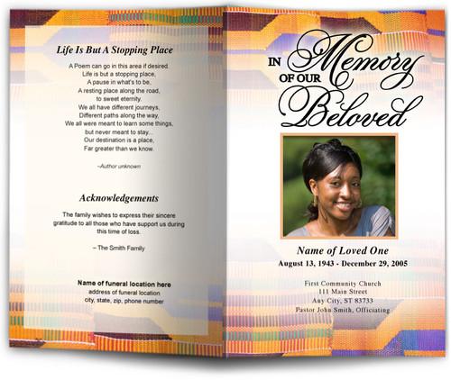 kente funeral program template