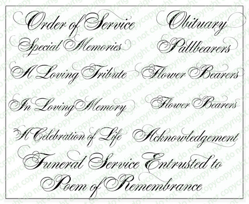 Alexis Funeral Program Titles Word Art Pack of 12