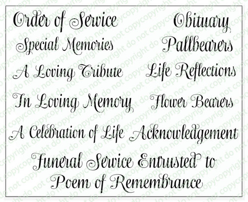 Ashton Funeral Program Titles Word Art Pack of 12