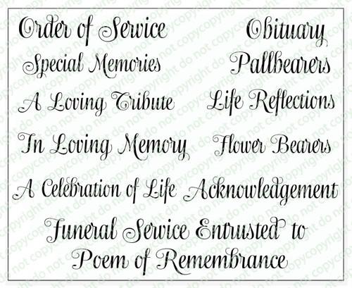 Ashton Funeral Program Titles Word Art Pack of 12