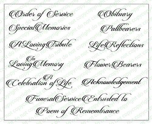 Beautiful Funeral Program Titles Word Art Pack of 12