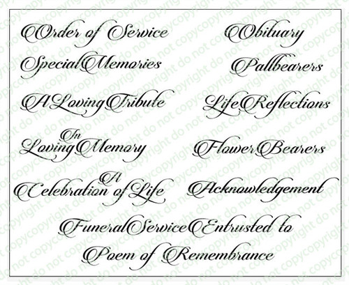 Beautiful Funeral Program Titles Word Art Pack of 12
