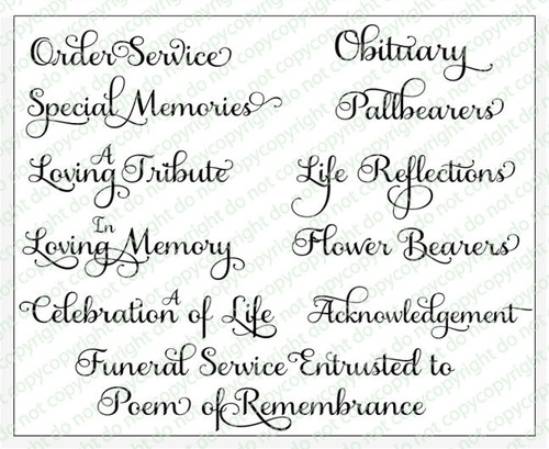 Carole Funeral Program Titles Word Art Pack of 12