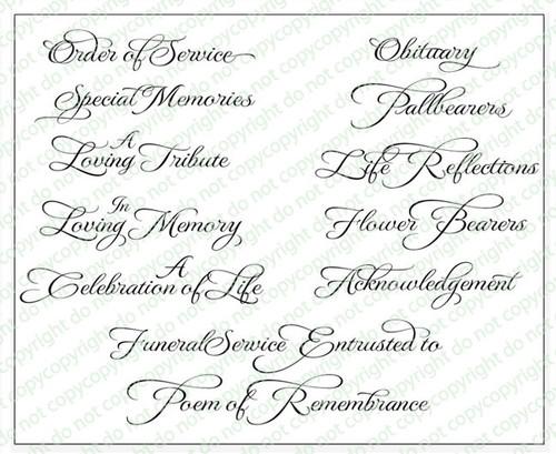 Crystaline Funeral Program Titles Pack of 12