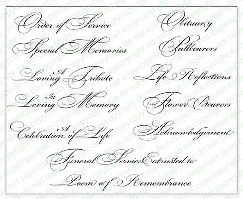 Lovingly Funeral Program Titles Pack Set of 12