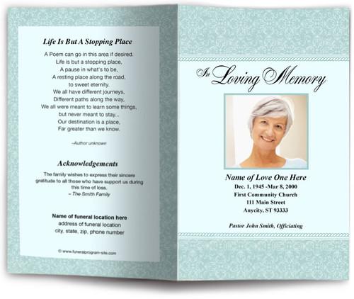 alexa teal funeral program site
