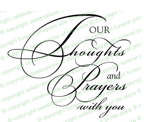 Our Thoughts And Prayers Sympathy Word Art Design