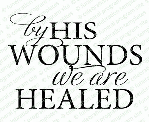 By His Wounds Bible Verse Word Art