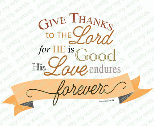 Give Thanks Bible Verse Word Art