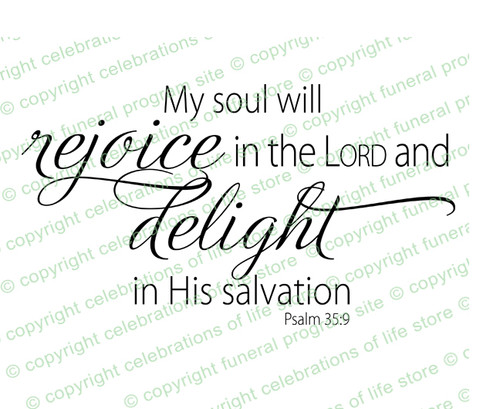 My Soul Will Rejoice Funeral Bible Verses Word Art