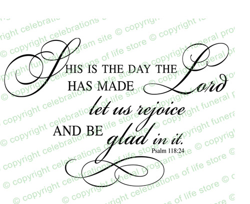 This Is The Day Funeral Bible Verses Word Art