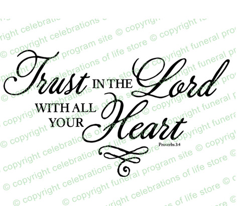 Trust In The Lord Funeral Bible Verses Word Art