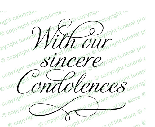Sincere Condolences Word Art