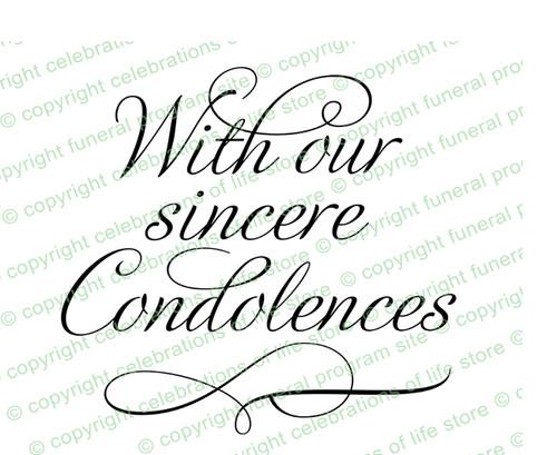 Sincere Condolences Word Art Design