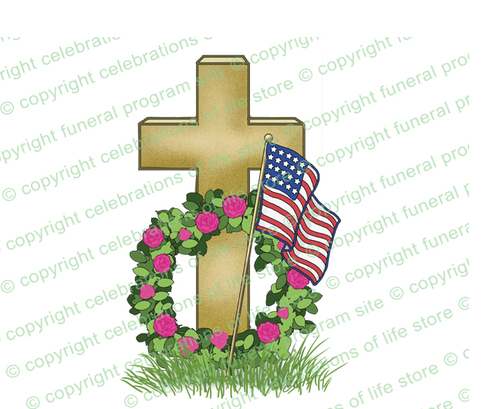 Flag Cross Wreath Funeral Clipart Design