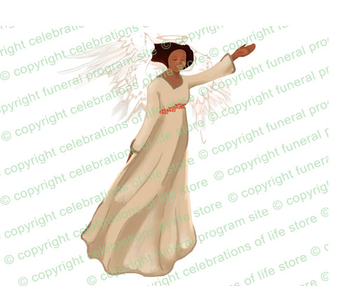 Fascination Angel Vector Funeral Clipart dark skin