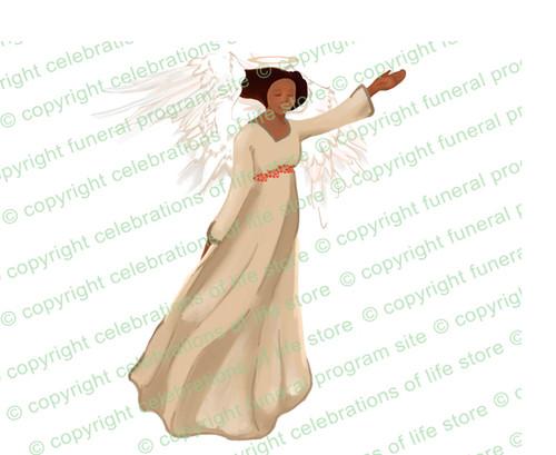 Fascination Angel Vector Funeral Clipart dark skin