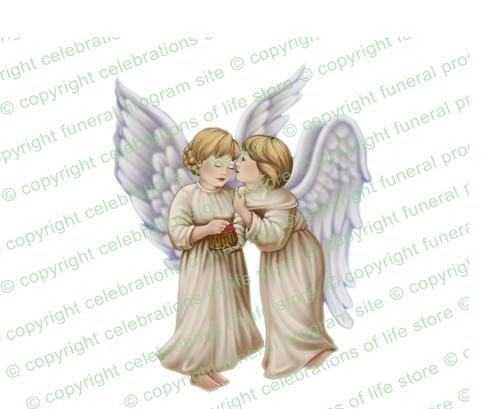 Joyous Angels Vector Funeral Clipart light skin