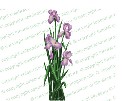 Iris Flowers Ready Made Funeral Clipart Design