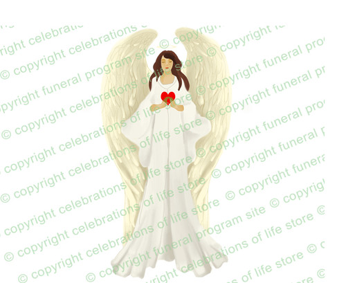 Prayerful Angel Funeral Clipart light skin