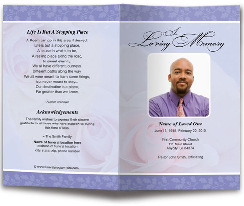 bella lavender funeral program template