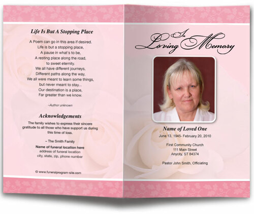 bella pink funeral program template