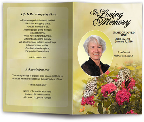 bouquet funeral program template