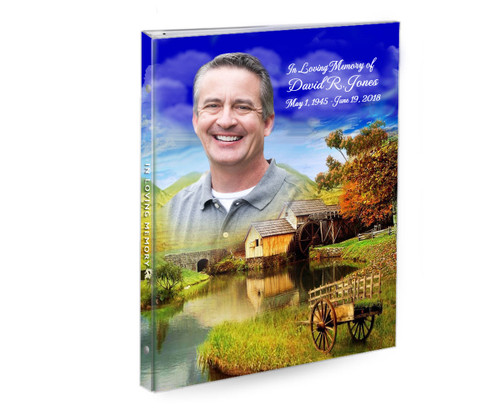 Country Landscape Ring Book Binder Funeral Guest Book