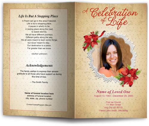 carol funeral program template